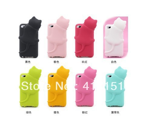 3D Cute Cat Soft Silicone Back Cover Case iPod Touch 4 4G + Dust Plug - ALEX ZHOU Store store