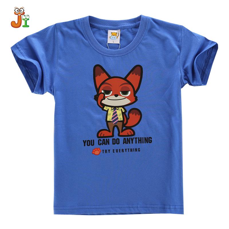 cotton shirt for 3-13years 2016 NEW Children Cartoon Zootopia Nick TShirts Children t-shirts Kids Short Sleeve Tee Baby Clothing(China (Mainland))