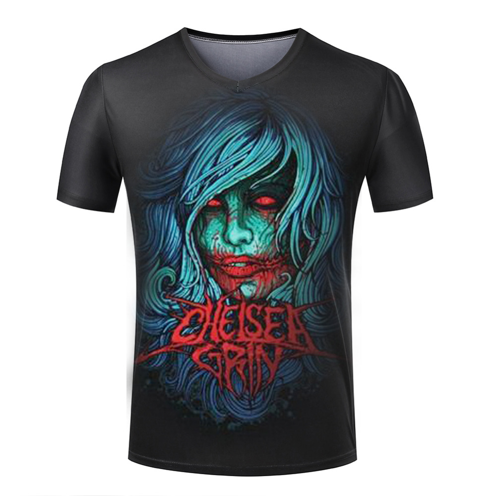 Summer New Style Shirt Men V Neck Short Sleeve 3D Spandex T Shirts Discounts Chelsea Grin Fashion Male Tee Shirts Ghost Clothes(China (Mainland))