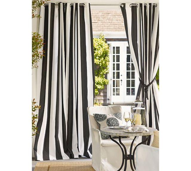 Moderne style pais cavas noir et blanc bande verticale rideau pour le salon trois tailles avec for Rideaux pour salon noir blanc