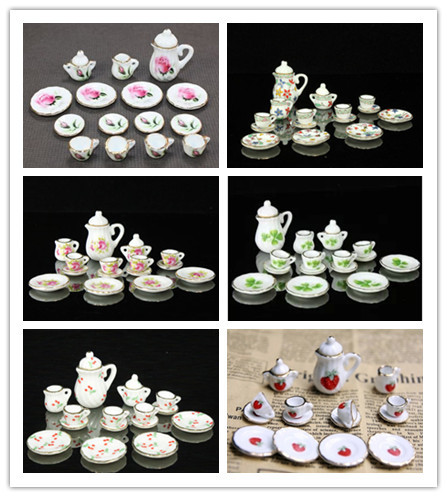 15pcs Dollhouse Miniature 1/12 Scale Dining Ware Porcelain Tea Set Dish Cup Plate Colorful Floral Print Brand New Free Shipping(China (Mainland))