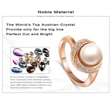 LZESHINE Pearl Ring Wedding Jewelry Rose Gold Plate SWA Elements Austrian Crystal Women Ring 2015 anel