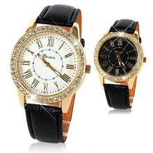 Women Bling Crystal Faux Leather Analog Quartz Wrist Watch Charm  Watch For Free Shipping