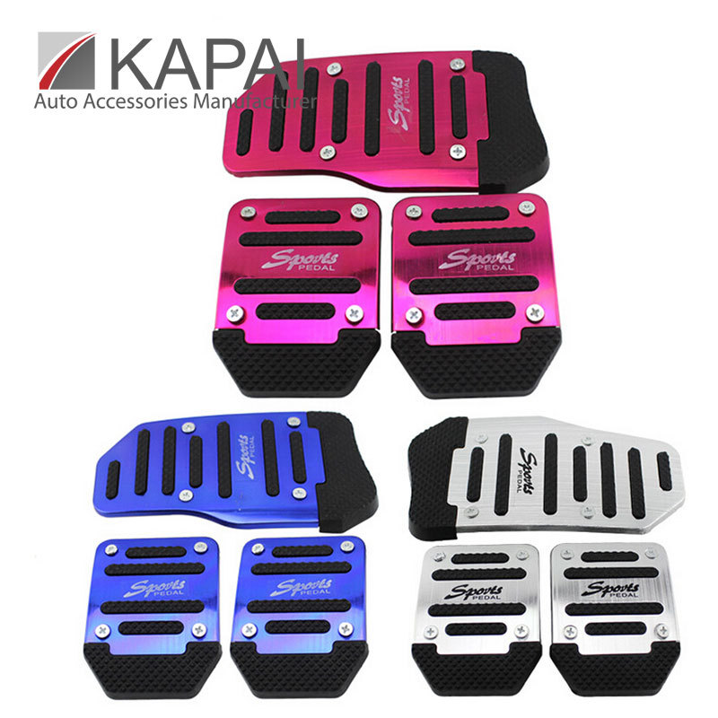 Pedal Covers Universal Plastic & Metal Manual Transmission 3 Pieces Blue& Red&Sliver Non-Slip Car Pedal Cover Set Kit(China (Mainland))