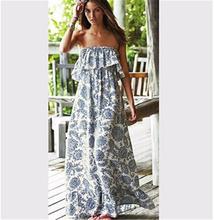 2015 Casual Summer Women Long Maxi Dress Print Strapless Off the Shoulder Straight Dresses Women Sexy Dress robe longue femme(China (Mainland))