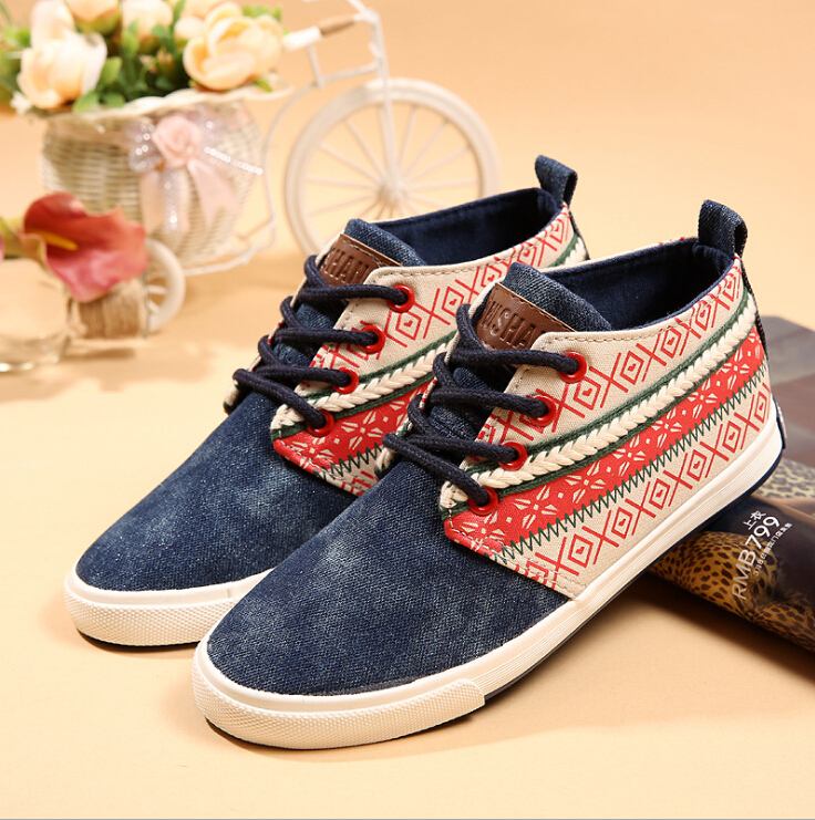 Spring 2015 new women shoes, flat stitching Korean casual canvas shoes high-top shoes Ms. nation(China (Mainland))