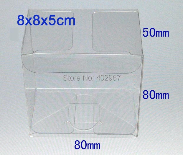 8x8x5cm PVC clear gift Packaging boxes transparent display packaging Case showcase 150pcs/lot(China (Mainland))