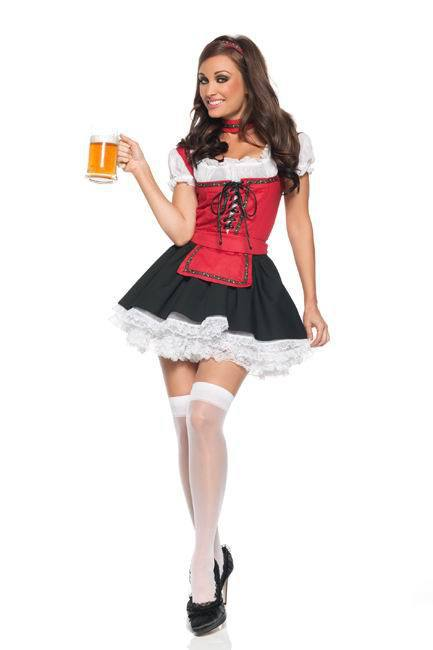 Free Shipping Red Germany Beer Costumes Oktoberfest Beer Girl Costumes Promotional Maid Temptation Sexy Costumes Lingerie(China (Mainland))