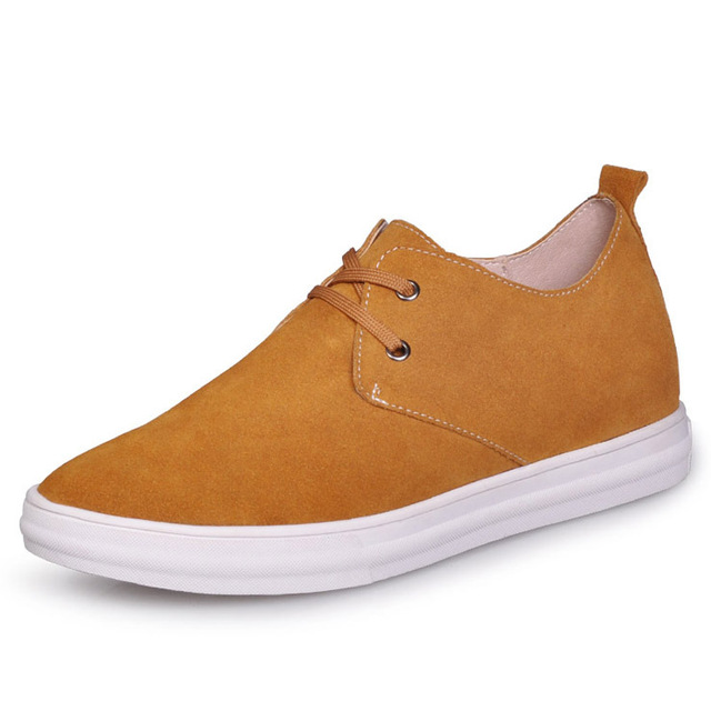 C158_3 Genuine Leather Yellow Height Increasing Elevator Shoes Gain 2.5inches taller