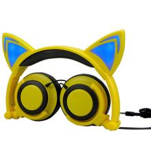 Wired Cat Ear Headphone Folded Christmas Gift Headband LED Light Earphone for Women Cute Unique Shape Headset(China (Mainland))