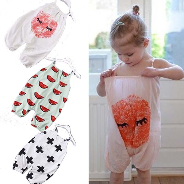 Girls Boys Rompers Children Summer Camisole Cotton Jumpsuits With Lovely Pattern Printed 2015 New Kids Fashion Clothing(China (Mainland))