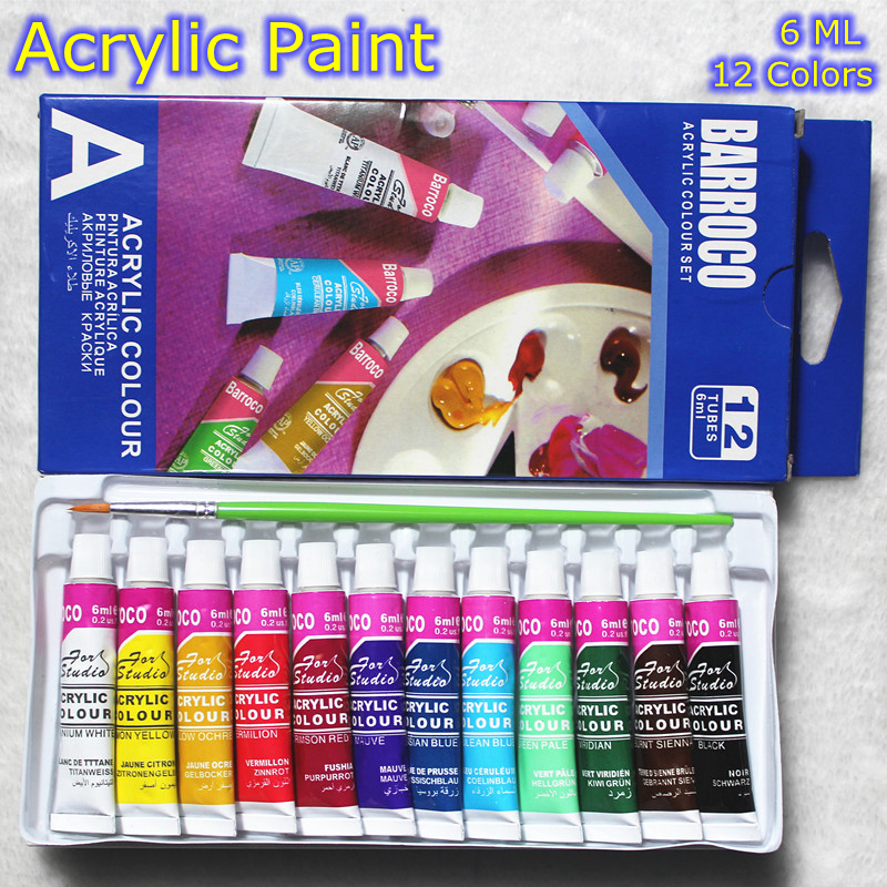 6 ML 12 Colors Professional Acrylic Paints Set Hand Painted Wall Painting Textile Paint Brightly Colored Art Supplies Free Brush(China (Mainland))