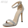Size 35 40 Summer Party Sandals Women s Shoes Solid Black Silver Gold High Heel Buckle