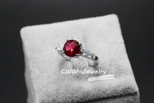 2015 Trendy White Gold Plated Round Ruby Red CZ Diamond Women Engagement Wedding Rings With Cubic