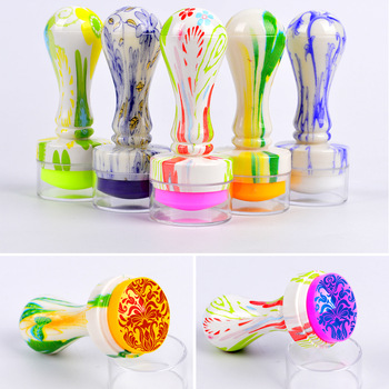 2017 New Design 2.8cm Jelly Silicone Candy Color Nail Art Stamper Silicone Head Flower Handle Stamping Scrapers Tools Set