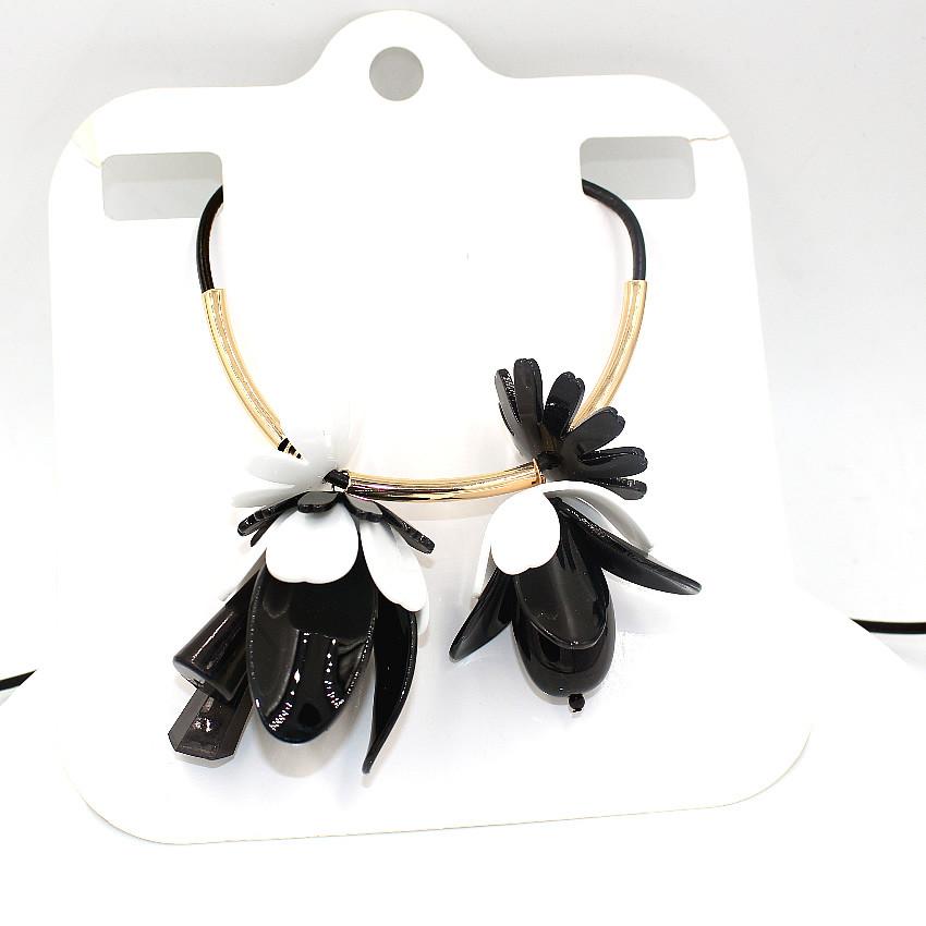 Ожерелье акриловые цветок ожерелье ZHONGLV 2016 моды цепи ZA себе Ожерелья женщины черный кожаный длинные Ожерелья & Подвеска