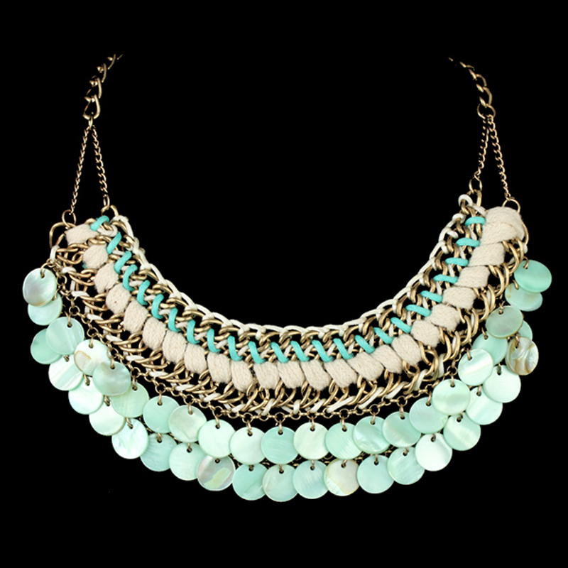 Brand Handmade Gold Plated String Weaving Cute Shell Statement Choker Necklace Women Fashion Maxi Jewelry 3 Colors - KAYMEN JEWELRY CO,.LED. store