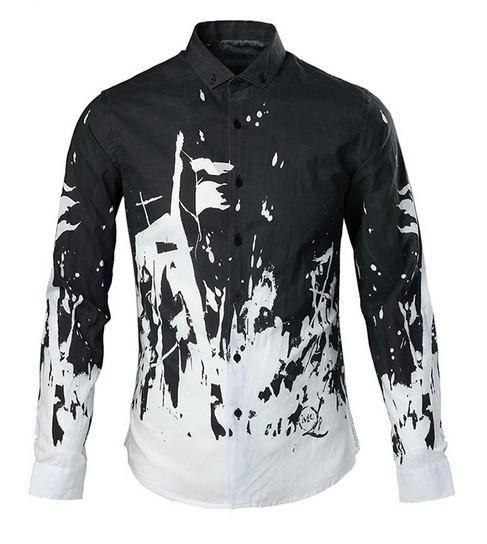 Fashion 2015 long sleeve shirt black and white graffiti for Black and white shirts men