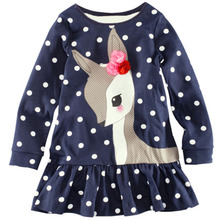 Kids Baby Girls Long Sleeve Lace Dress One piece Dots Deer Cotton Dresses Toddlers Clothes