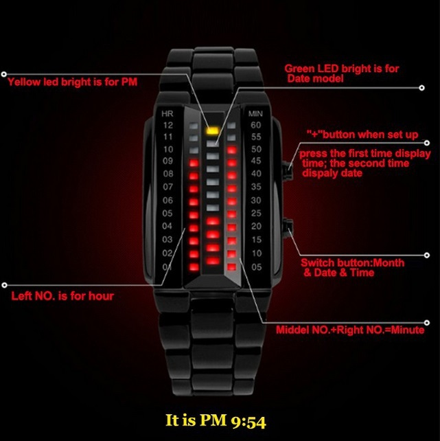 Free Shipping Hot Skmei Brand Military Sports Watches Binary Electronic LED Watch 3ATM Students Bracelet Wristwatches M-003(China (Mainland))
