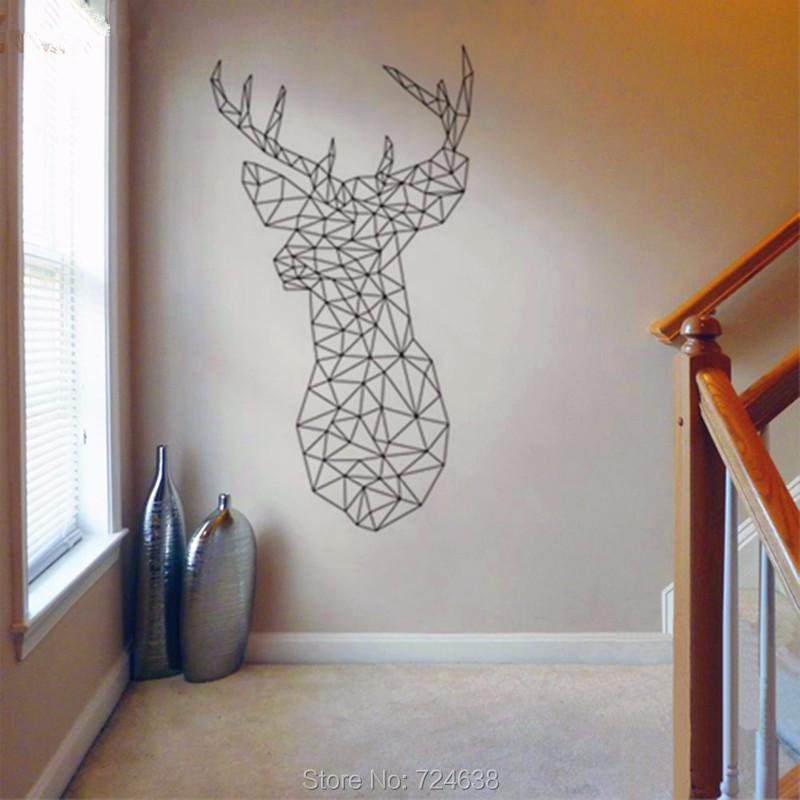 New Design - Geometric Deer Head Wall Sticker Geometry Animal Series Decals 3D Visual Effects Vinyl Wall Art Custom Home Decor(China (Mainland))
