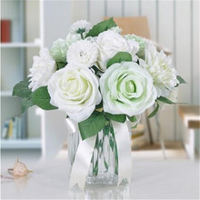 Buy 10 head/bouquet artificial rose bouquet Home Party Artificial Flowers Decorative Flower Bouquet Peony flower Wedding bouquet for $6.19 in AliExpress store