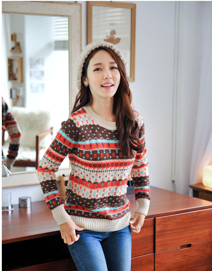 korean style fashion lady's casual pullover sweet girl's sweater colorful print free size Cheap clean out price WS8139(China (Mainland))