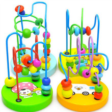 New Arrival 2015 Lovely Baby Kids Early Education Colorful Wooden Around Beads Cute Toddler Kids Education Development Toys(China (Mainland))