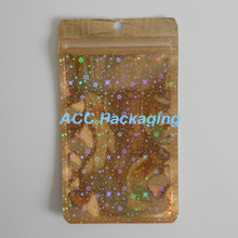 9cm*16cm Glittery Golden / Clear Self Seal Zipper Plastic Retail Pack Bag, Zip Lock Ziplock Bag Retail Package With Hang Hole(China (Mainland))