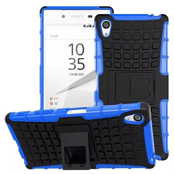 Для Sony experia Z5 Премиум Телефон Дело Hybrid PC + Силиконовый Двойной Броня Корпуса Ударопрочный Амортизирующие Твердый Переплет Kickstand np308