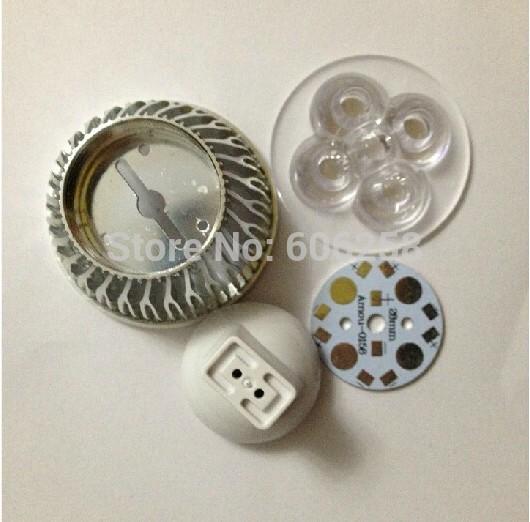 4W MR16 12V LED lamp cup Energy Saving Lamp Aluminum Housing Case Cover 10pcs(China (Mainland))
