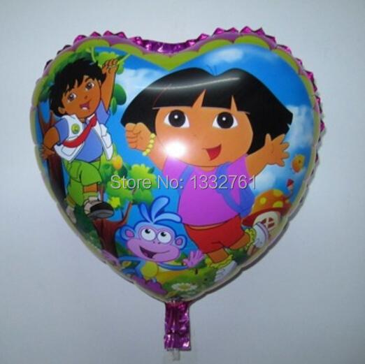 Discount 50pcs/lots 18 inch dora foil balloons heart-shaped mylar ballons cartoon Dora girl helium balloon size 45x45cm(China (Mainland))