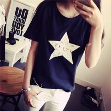 Tops & Tees Women 2016 Pattern T-shirt T Shirt Short Sleeve Street O-neck White Loose Casual Tops Shirts Fashion(China (Mainland))