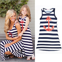 Brand New Girl Casual Long Sleeve Anchor striped mother and daughter dress Family matching clothes mommy