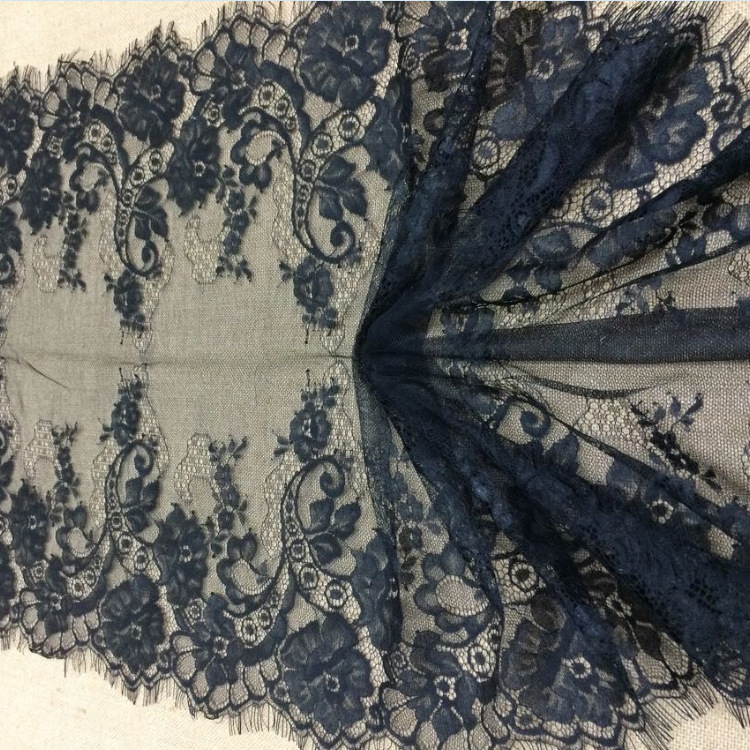 45CM huge double edging lace trimming floral eyelash french lace trim and lace fabric specialized for wedding dress bridal gown(China (Mainland))