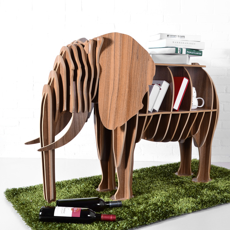 High-end DIY Wood Desk Elephant Storage Table Wooden Animal Wild Africa  Elephant Creative Furniture