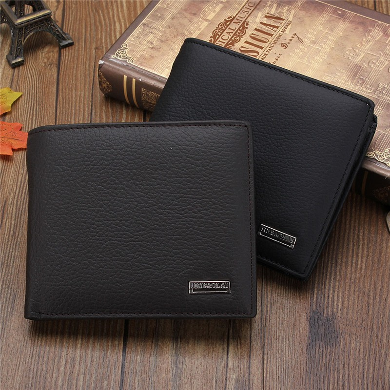 Men Short Wallet Genuine Leather Credit Card Holder Wallets Coin Purse Solid Male Masculina Black Brown Billfold Mens Carteira<br><br>Aliexpress