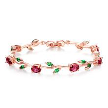 Bamoer Warna Rose Gold Rantai Daun & Link Gelang dengan Merah + Hijau AAA Zircon untuk Ibu Hadiah Perhiasan JIB072(China)