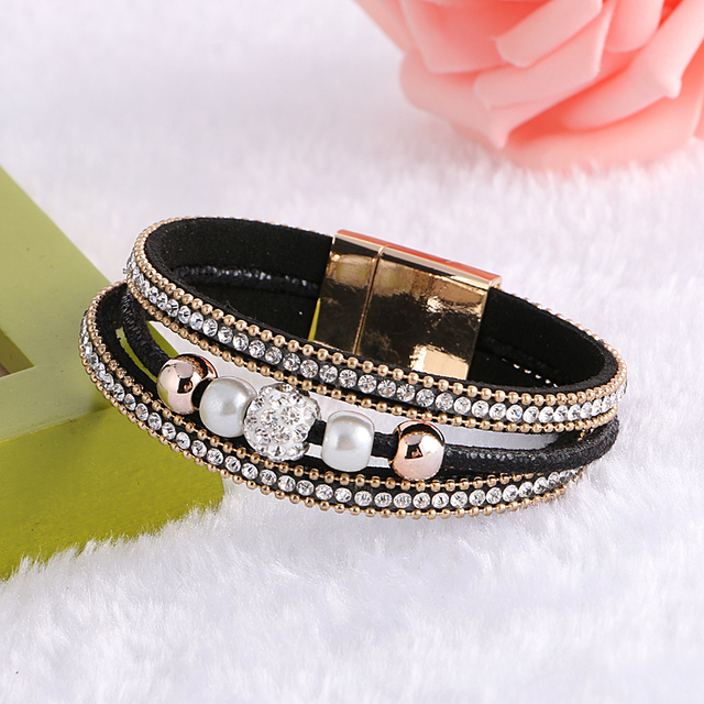 2017 Luxury Boho Crystal Ball Beads Leather Bracelets Bangles Magnetic Multilayer Jewelry Pulsera For Women brazaletes pulseras