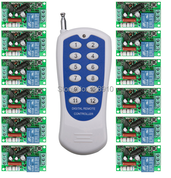 New AC220V 1 CH 1CH RF Wireless Remote Control Switch System,12CH Transmitter + 12 X Receivers wireless remote switch contro<br>