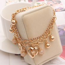2016 New Fashion Jewelry Gold Chain Jewelry Heart Pendant Multilayer bracelet factory price wholesales bracelets & bangles(China (Mainland))