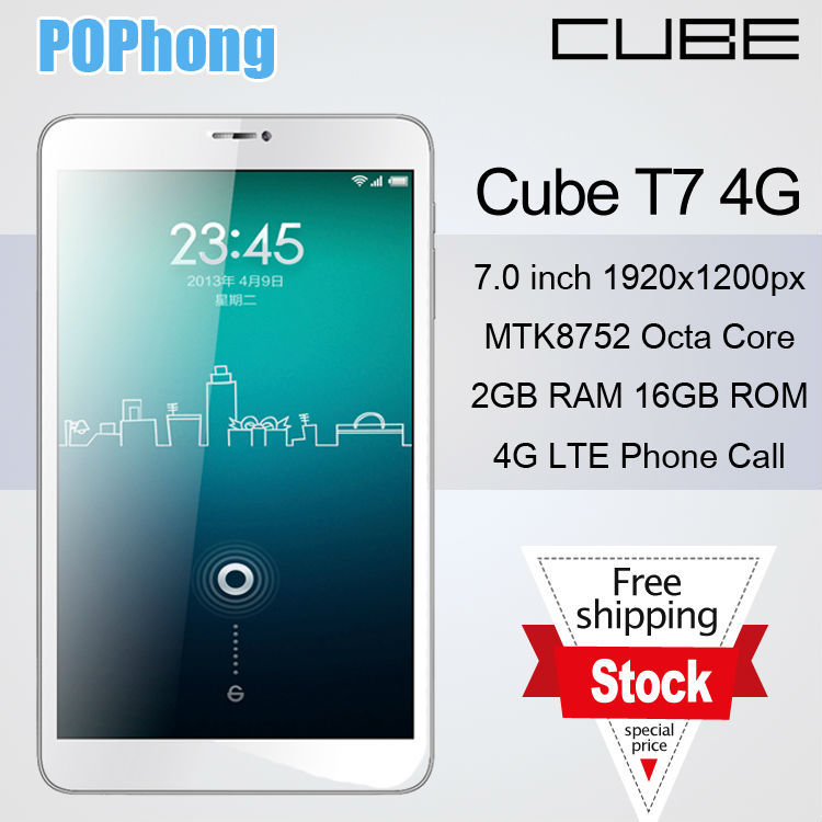 Cube T7 7 inch Android Tablet 1920*1200 GPS 2GB RAM 4G LTE Octa Core MTK8752 Camera 5.0MP(China (Mainland))