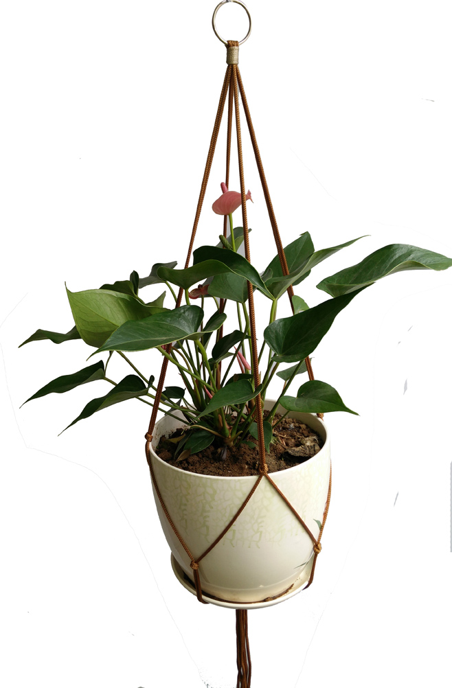 DIY Macrame Plant Hangers Simple 36 inches Nylon Brown Use For Indoor Outdoor Patio Deck Ceiling Round & Square Pots Pot Tray(China (Mainland))
