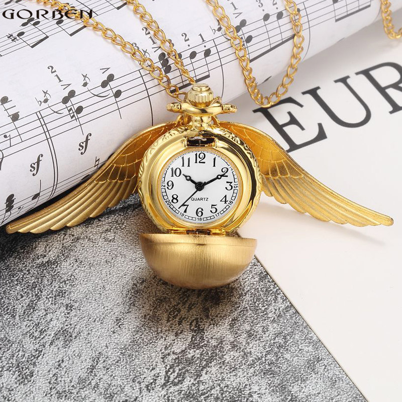 Luxury Retro Golden Ball Pocket Watch with Wings Steampunk Small Quartz Pocket Watch Chain Necklace Christmas Pendant for Women(China (Mainland))