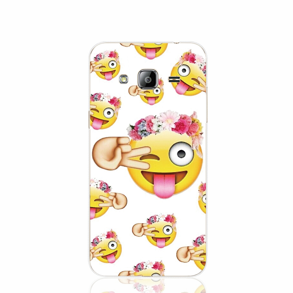 18652 Funny Emoji Face durable cell phone case cover for Samsung Galaxy J1 MINI J2 J3 J7 ON5 ON7 J120F 2016 2015(China (Mainland))
