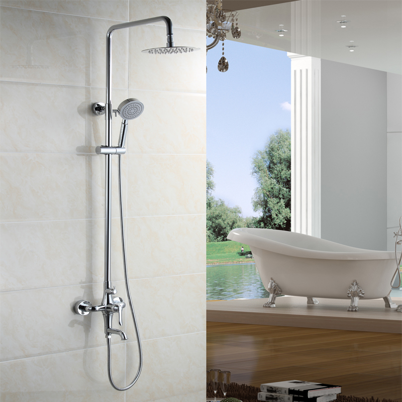 """free shipping Bathroom Bath & Shower Set Faucet Single Handle 8"""" Rainfall Shower Head Shower System with Handheld(China (Mainland))"""