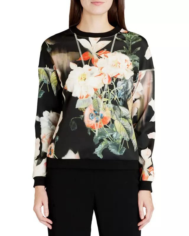 Alibaba Couture 2015 Autumn Women's 3D Sweatshirt Brilliant Flowers Blooming Hoodies Double Side Print Sport Suit Free Shipping(China (Mainland))