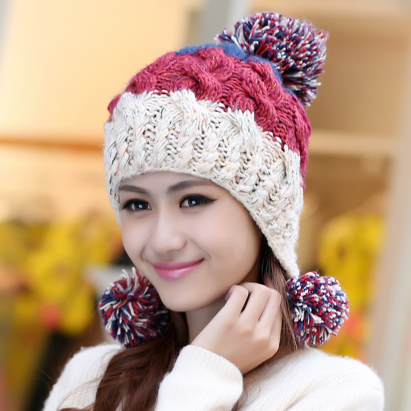 ... Cap Slouch Beanie Crochet Hat Skullies Hair Ball Ear Muff Knitted Hat