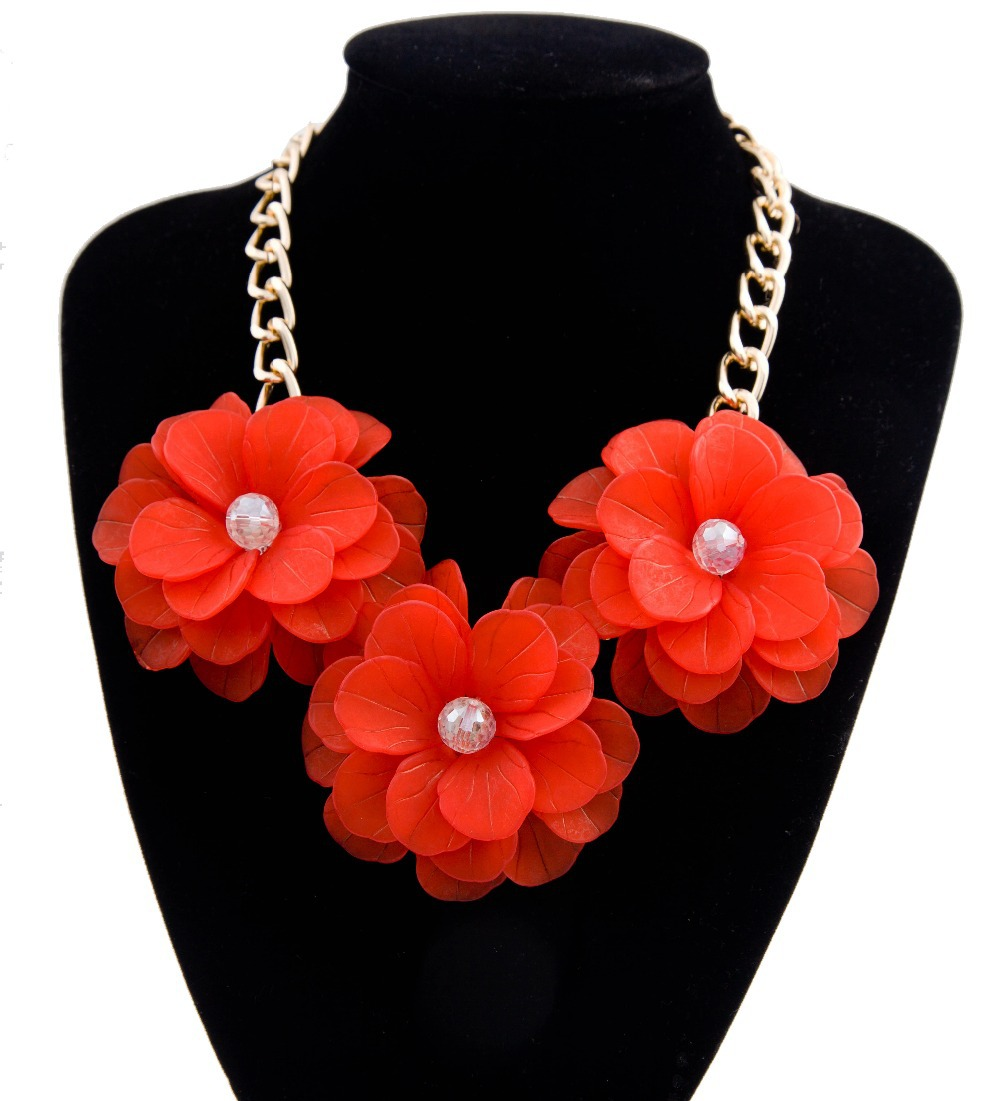 Fashion jewelry 2015 New Women three large flower necklace chunky chain necklace Numerous colors Factory direct Wholesale XL01(China (Mainland))