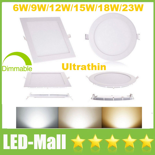 1pcs Ultrathin 6W 9W 12W 15W 18W 23W LED Panel Lights Round /Square Dimmable /Non Sample Recessed Ceiling Down Light Lamp CSA UL(China (Mainland))